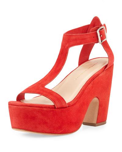 Minette Suede Platform Sandal, Poppy