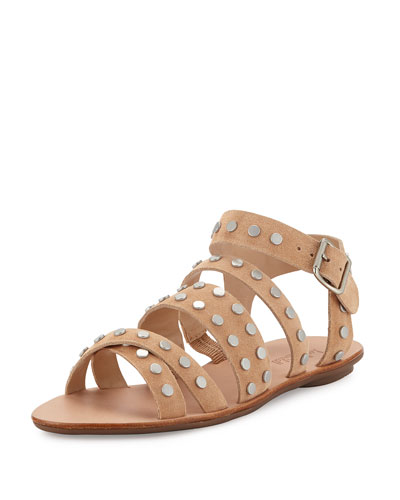 Karin Studded Strappy Flat Sandal, Nude/Silver