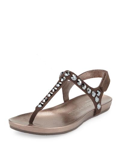 Judith Crystal Flat Thong Sandal, Silt