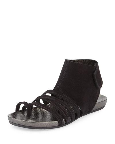 Jezabel Suede Strappy Cuffed Flat Sandal, Black