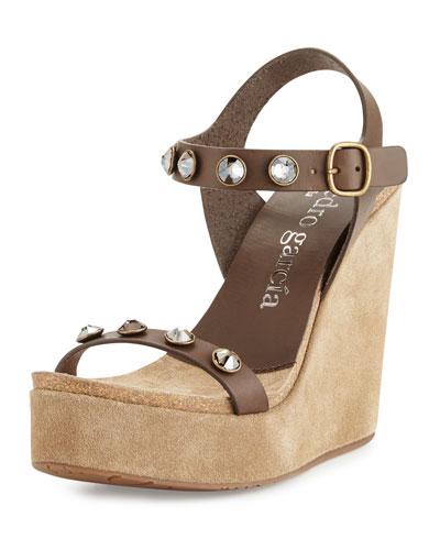 Trilian Crystal Wedge Sandal, Carob