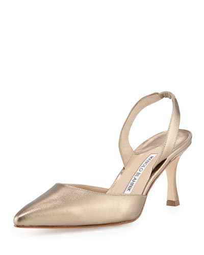 Carolyne Leather Mid-Heel Halter Pump, Alba Russo