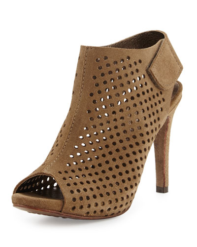 Sofia Open-Toe Perforated Suede Bootie, Dune