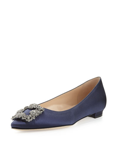 Hangisi Crystal-Buckle Satin Flat, Navy