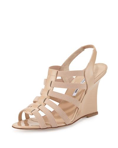 Iaggia Patent Wedge Sandal, Nude