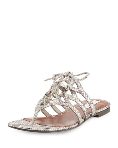 Claudia Snake-Embossed Lace-Up Thong Sandal, Python