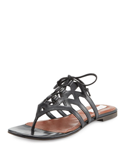 Claudia Leather Lace-Up Thong Sandal, Black