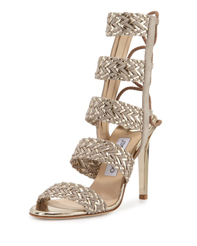 Lima Braided Leather 100mm Sandal, Marble/Light Champagne
