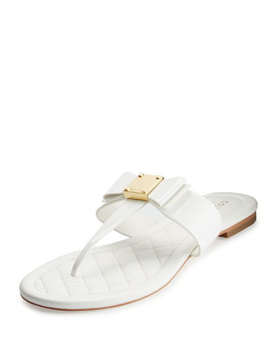 Tali Bow T-Strap Sandal, Optic White