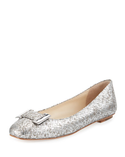 Froth Snake-Embossed Buckle Flat, Silver