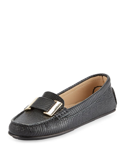 Renna Lizard-Embossed Ornament Loafer, Black