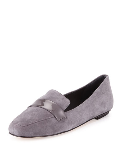 Fab Patent-Strap Suede Loafer, Smoke