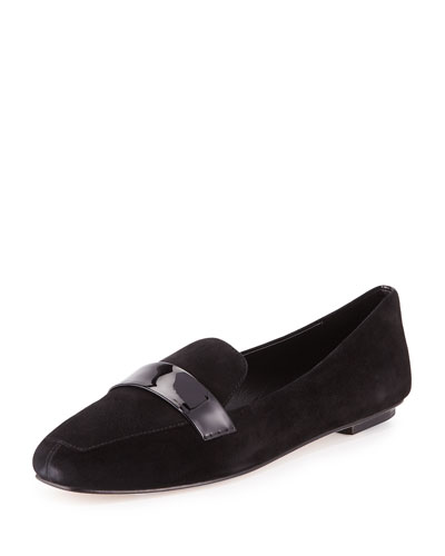 Fab Patent-Strap Suede Loafer, Black