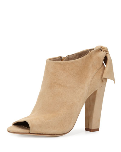 Dylan Bow Peep-Toe Bootie, Camel