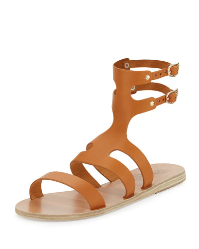 Agapi Flat Leather Gladiator Sandal, Brown