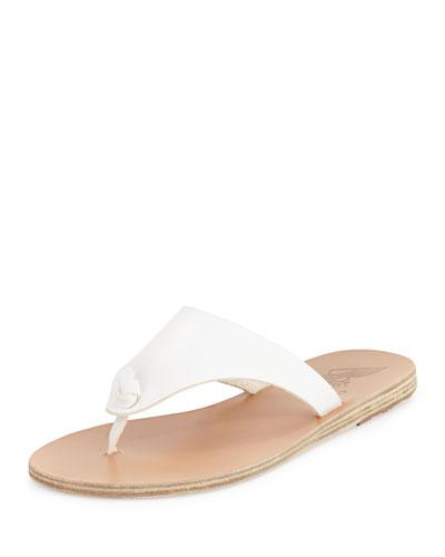 Igia Leather Thong Sandal, White