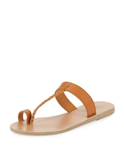 Melpomeni Toe-Ring Leather Sandal, Camel