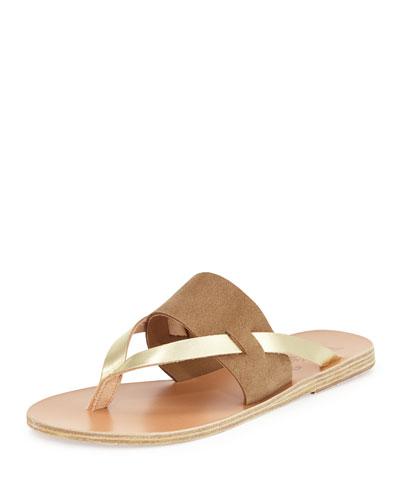 Zenobia Flat Thong Sandal, Taupe