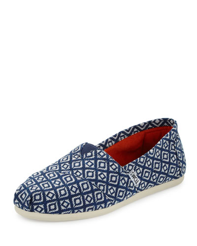 Alpargata Diamond-Print Slip-On Flat, Dark Blue