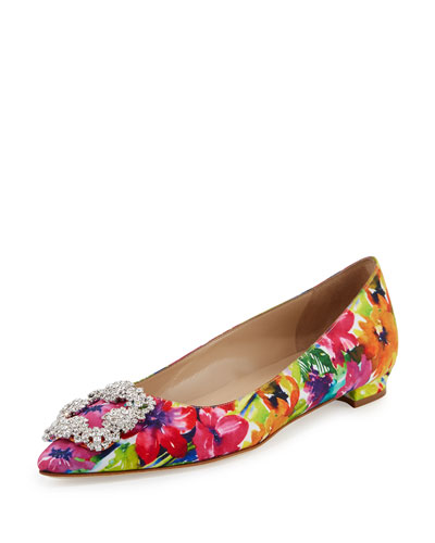Hangisi Crystal-Buckle Satin Flat, Pink Floral