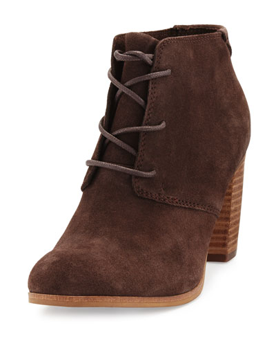 Lunata Suede Lace-Up Ankle Boot, Chocolate