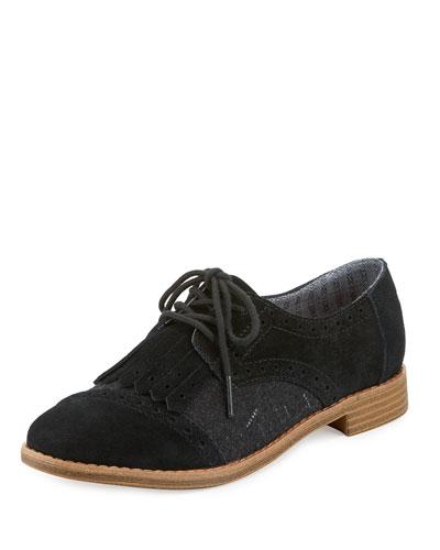 Brogue Suede & Wool Kiltie Oxford, Black
