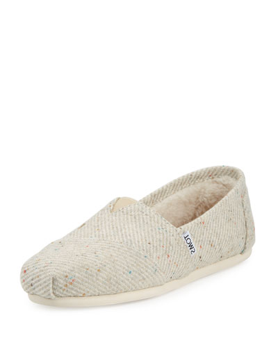 Alpargata Speckled Slip-On Flat, Black/White