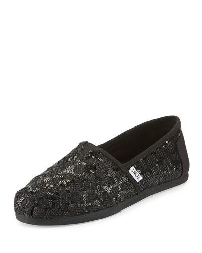 Alpargata Sequined Slip-On Flat, Black