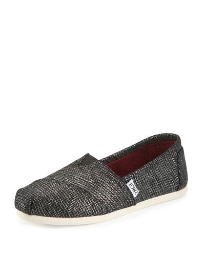 Alpargata Metallic Burlap Slip-On Flat, Black