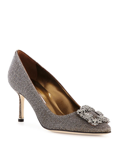 Hangisi Glitter Fabric 70mm Pump, Bronze