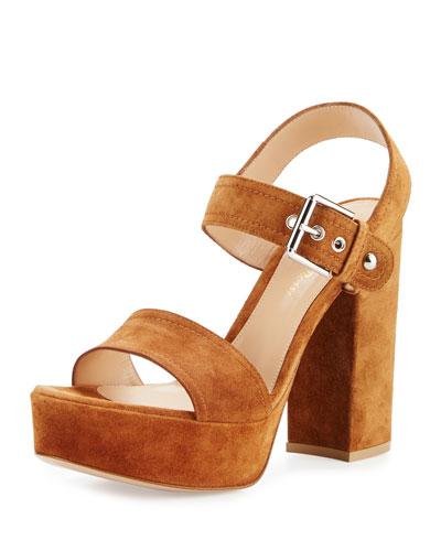 Suede Two-Band Platform Sandal, Cognac