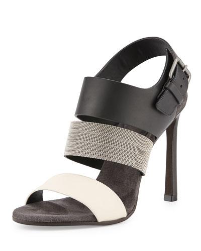 Monili Colorblock 105mm Sandal, Vanilla/Black