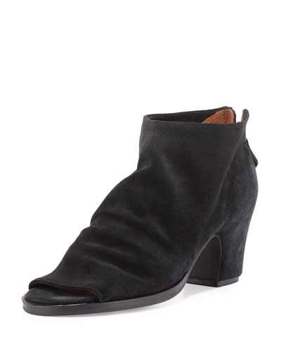 Pippa Suede Open-Toe Bootie, Black