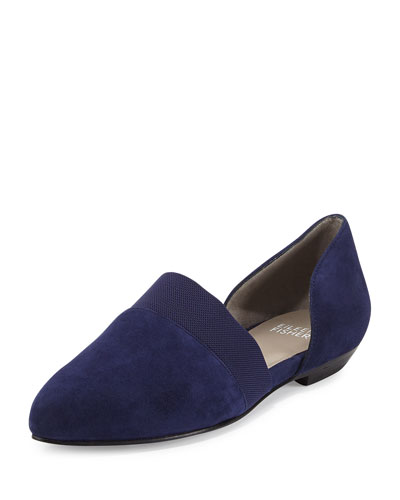 Flute Pointed-Toe d'Orsay Flat, Dark Night
