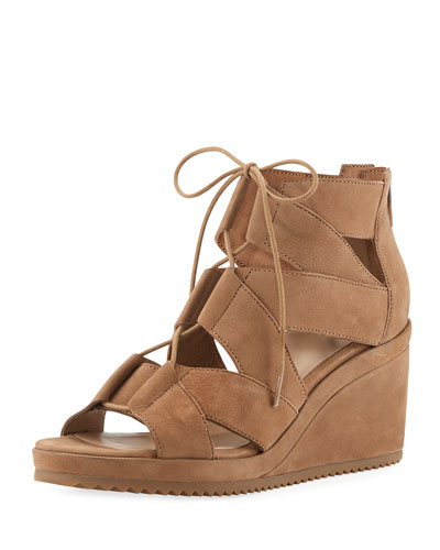 Dibs Lace-Up Wedge Sandal, Sienna