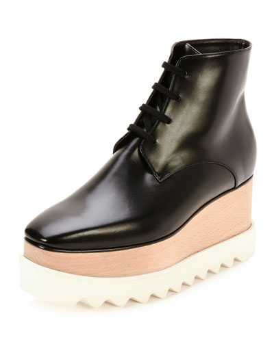Elyse Lace-Up Platform Bootie, Black