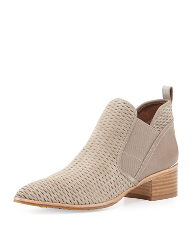 Donny Perforated Low Bootie, Beige