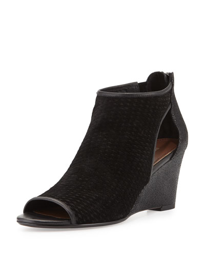 Jace Perforated Wedge Sandal, Black