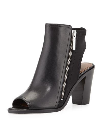 Kaden Leather Open-Toe Bootie, Black