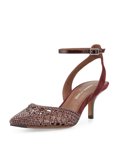Fresia Woven Pointed-Toe Pump, Merlot