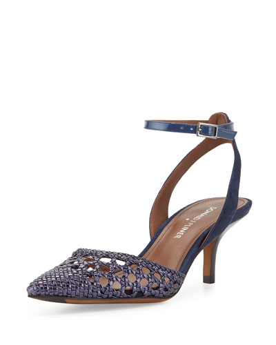 Fresia Woven Pointed-Toe Pump, Ocean