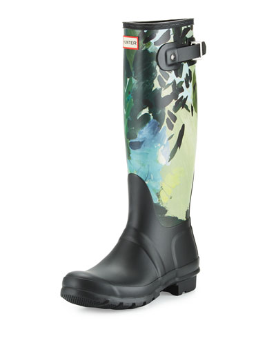 Original Tall Botanical-Print Rain Boot, Black