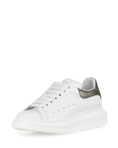Leather Lace-Up Platform Sneaker, White/Black Pearl