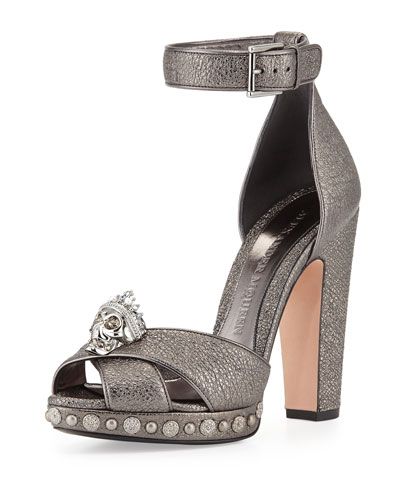Skull Leather Ankle-Wrap Pump, Black Pearl