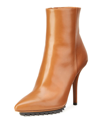 Strettoia Leather Pointed-Toe Ankle Boot, Caramel