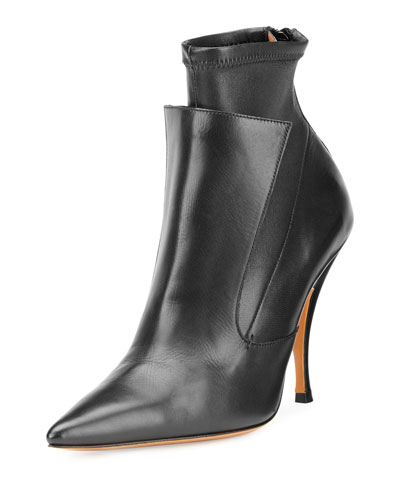 Lux Leather Layered Ankle Boot, Black