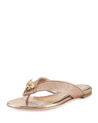 Metallic Skull Thong Sandal, Rose Gold