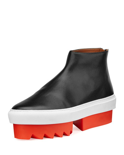 Leather High-Top Platform Skate Sneaker, Black/Orange