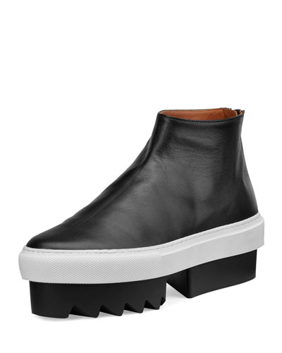Leather High-Top Platform Skate Sneaker, Black