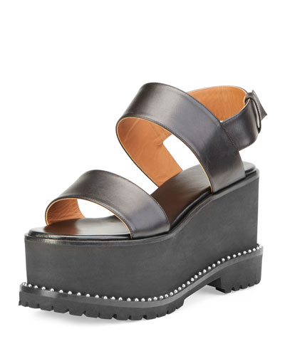 Elegant Leather Wedge Sandal, Black